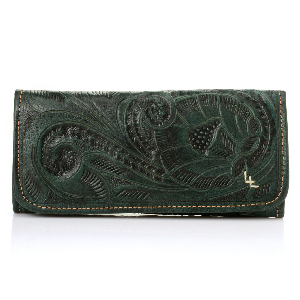 718-580 - Labrado™ Leather Hand-Tooled & Distressed Tri-Fold Wallet