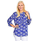 718-582 - Kate & Mallory Solid or Printed Woven Roll Tab Sleeved Hi-Lo Hem Blouse