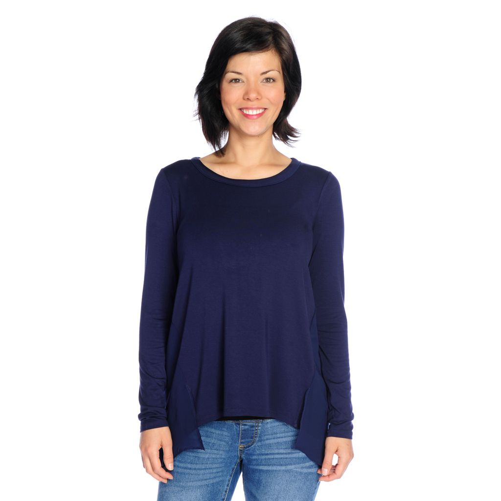 718-584 - Kate & Mallory Mixed Media Long Sleeved Split Back Hi-Lo Top