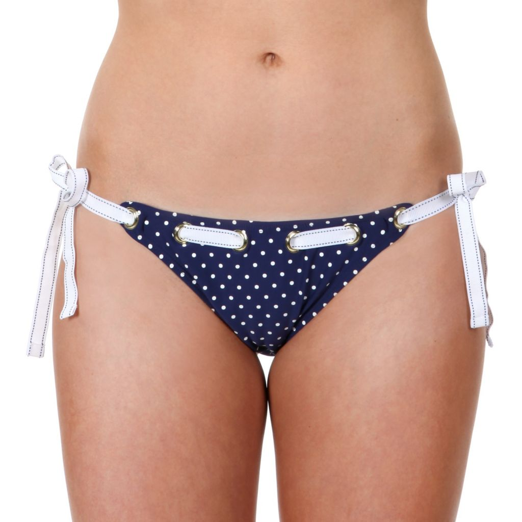 718-611 - Betsey Johnson Tied String Nautical-Inspired Dot Print Swimsuit Bottom