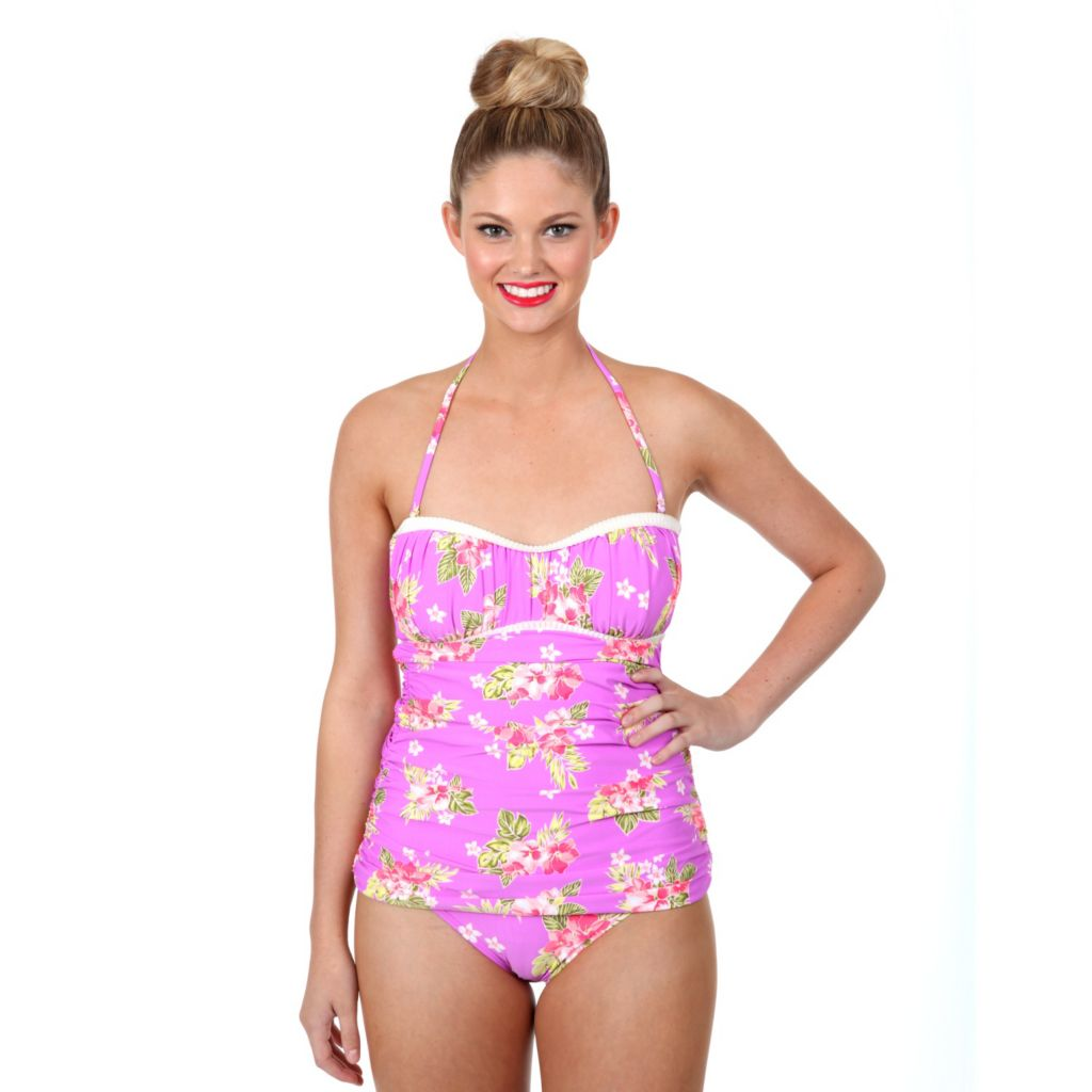 718-624 - Betsey Johnson Topical Halter One-Piece Swimsuit