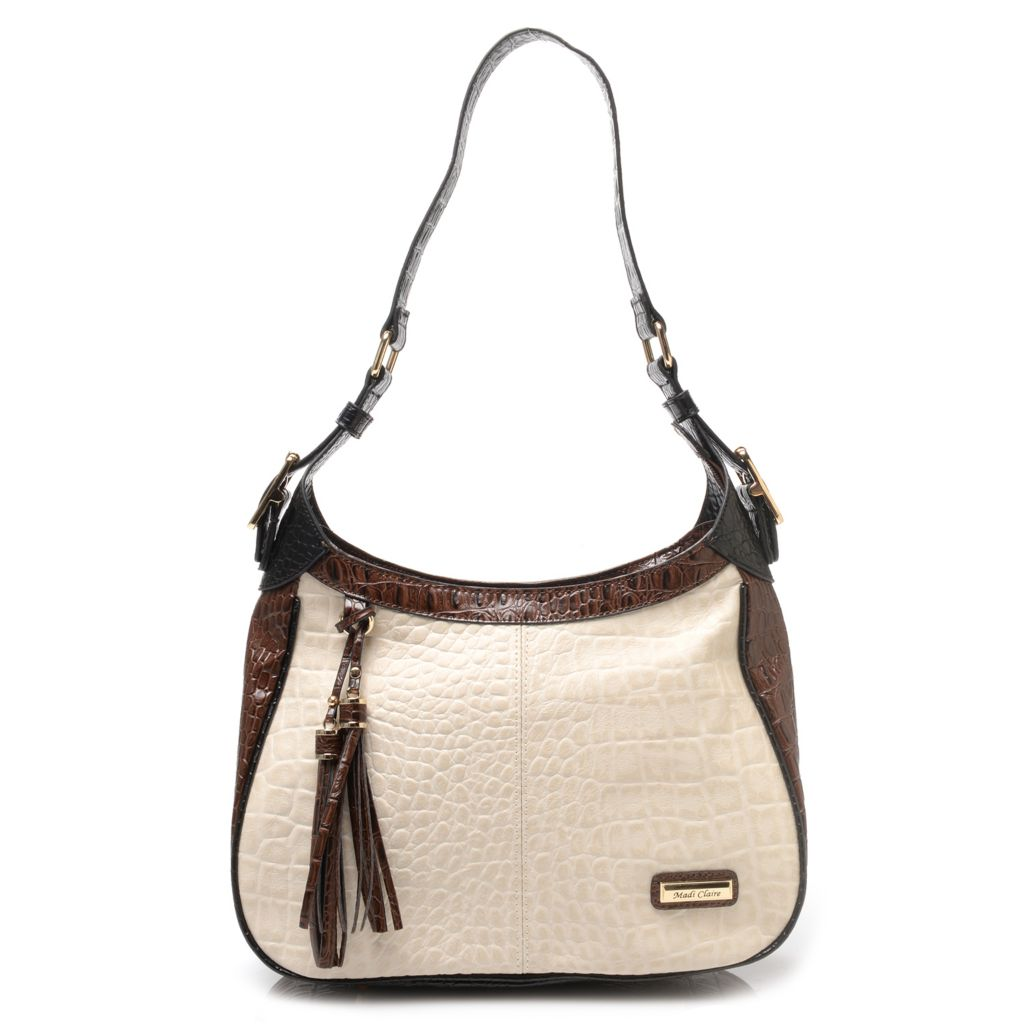 718-672 - Madi Claire Croco Embossed Leather Zip Top Tassel Detailed Hobo Handbag