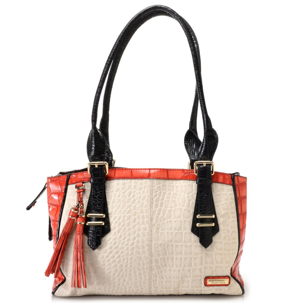718-674 - Madi Claire Croco Embossed Leather Zip Top Double Handle East-West Tote Bag