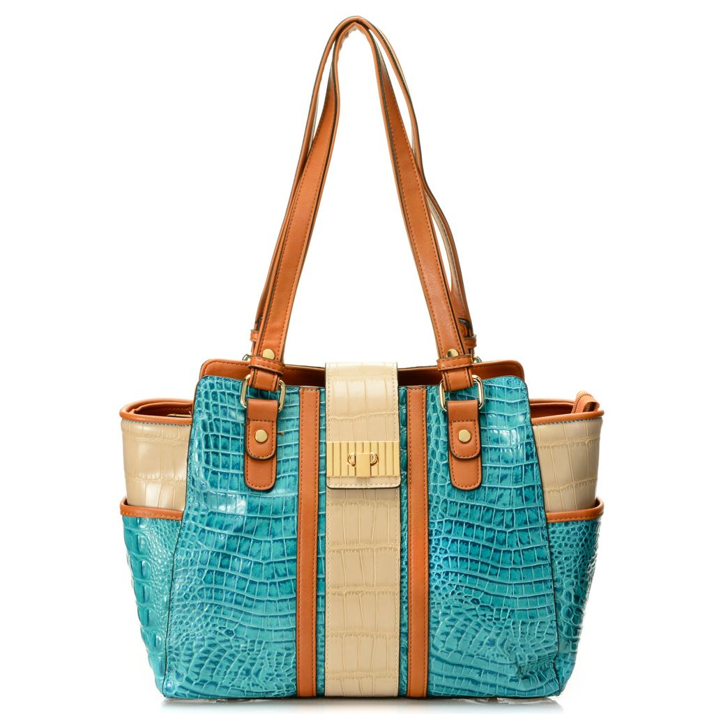 718-676 - Madi Claire Croco Embossed Leather Tri-color Double Handle East-West Tote Bag