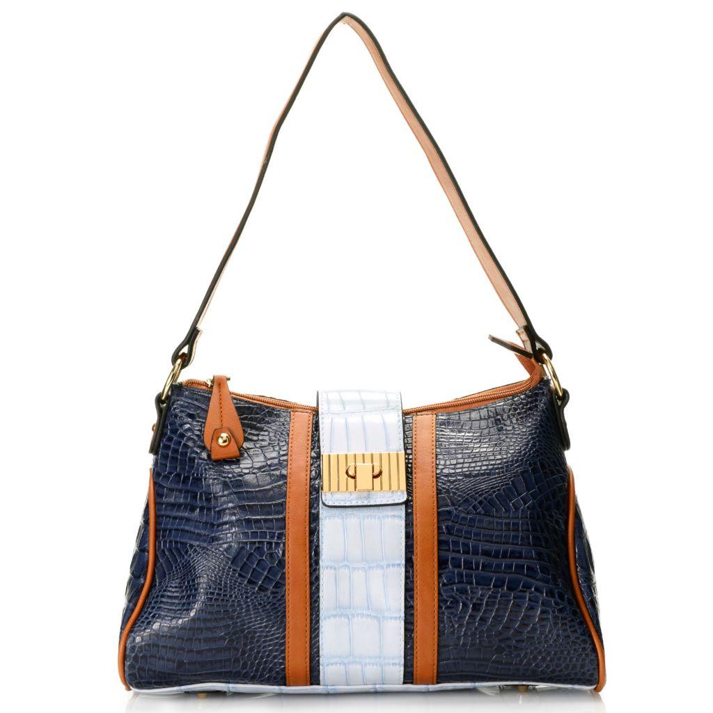 718-677 - Madi Claire Croco Embossed Leather Tri-color Zip Top Flap-over Belt Shoulder Bag