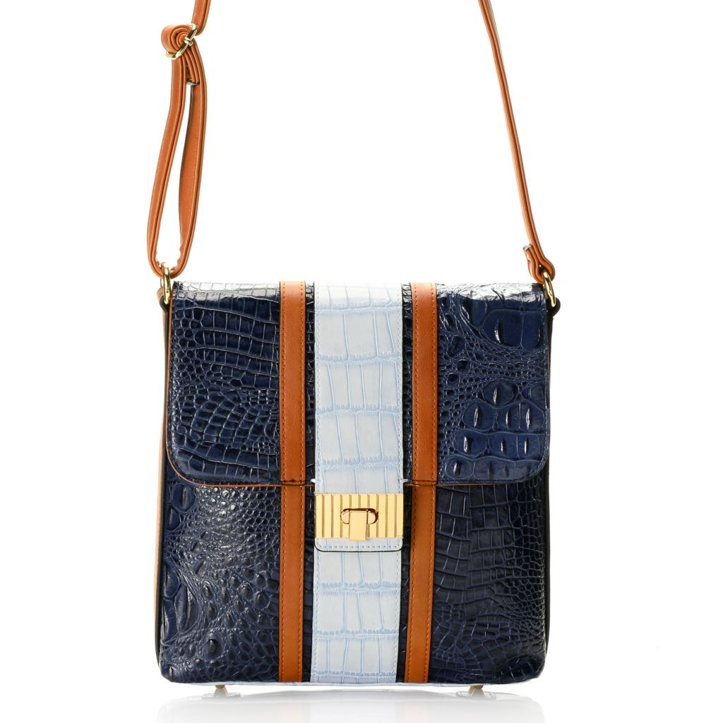 718-678 - Madi Claire Croco Embossed Leather Tri-color Convertible Cross Body/Shoulder Bag