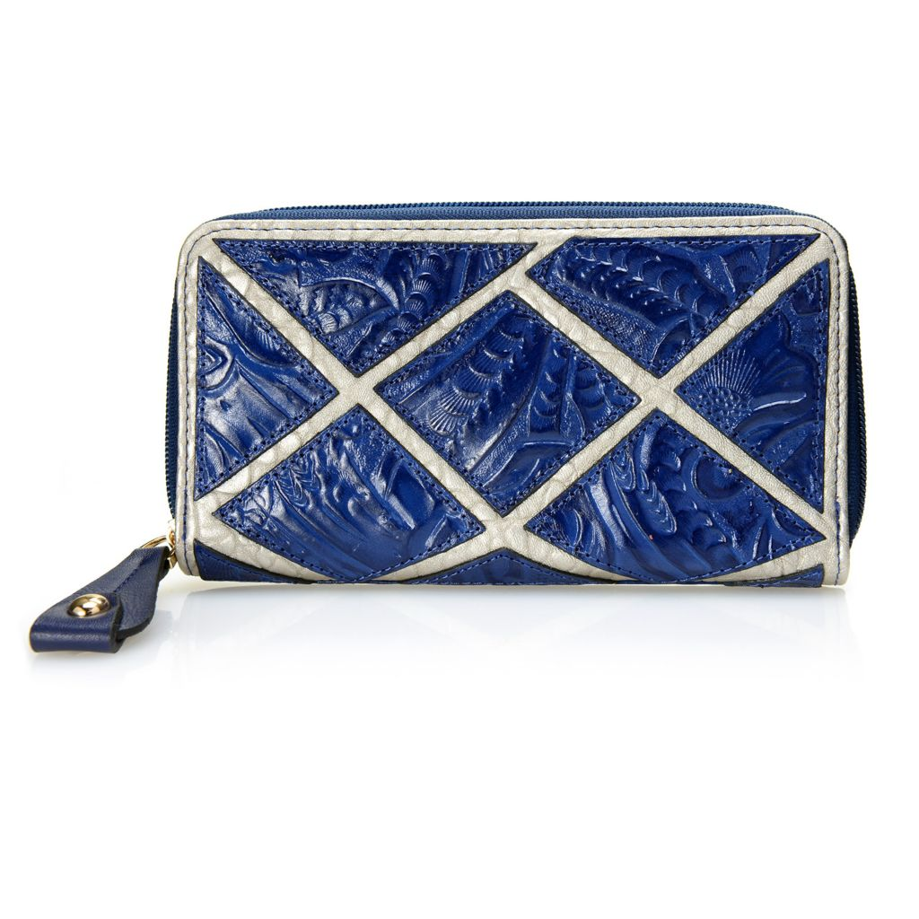 718-680 - Madi Claire Tool Embossed Leather Zip Around Wallet