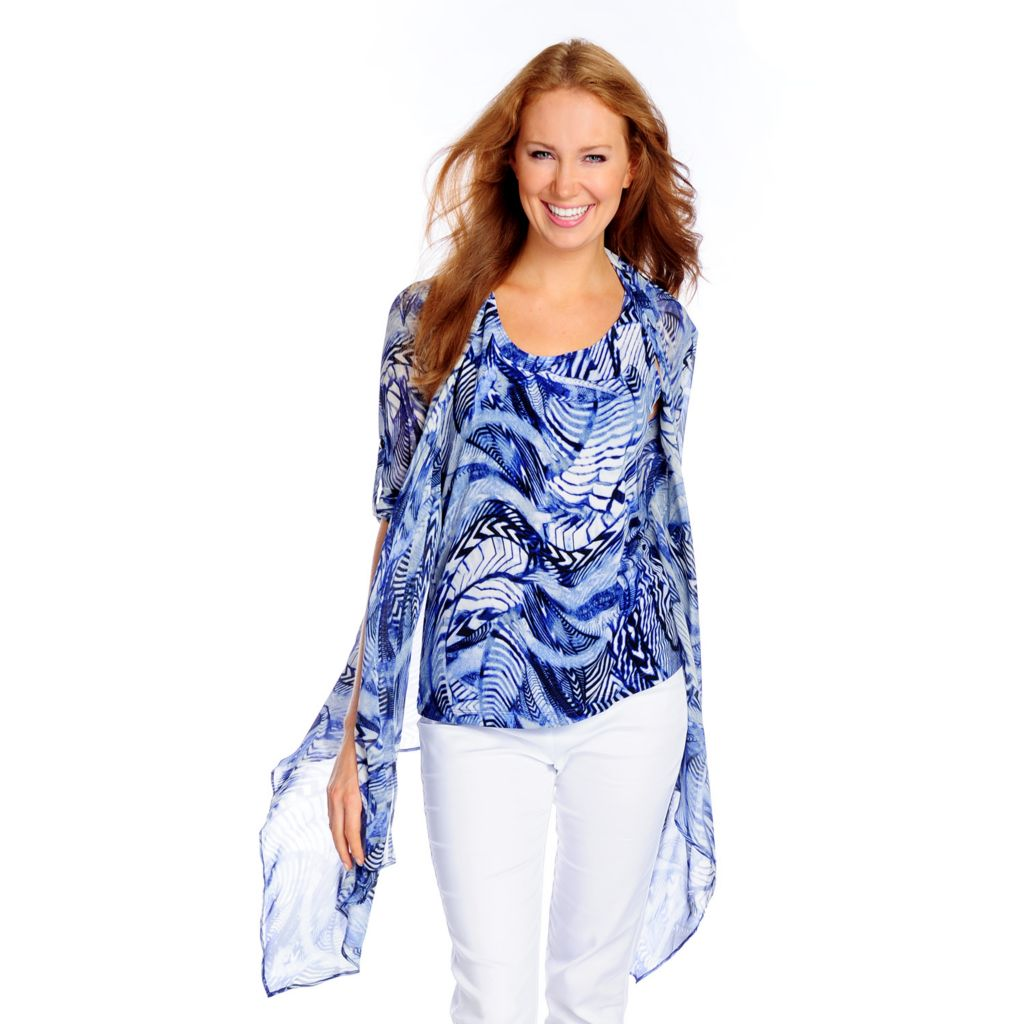 718-681 - Kate & Mallory Printed Chiffon Roll Tab Sleeved Cascade Cardigan & Knit Tank Set