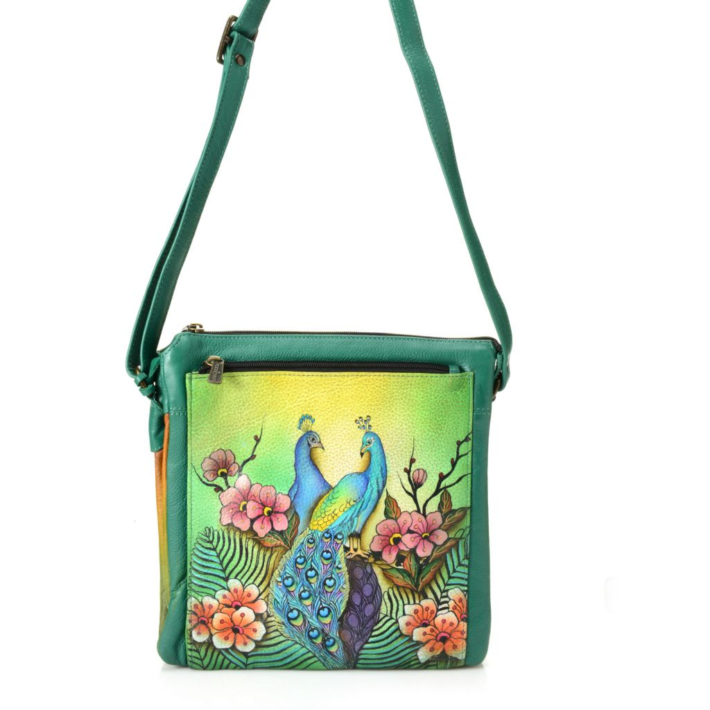 718-690 - Anuschka Hand-Painted Leather Multi Compartment Cross Body Bag