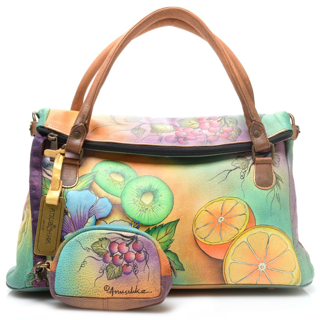 718-691 - Anuschka Hand-Painted Leather Flap-over Satchel w/ Strap & Coin Pouch