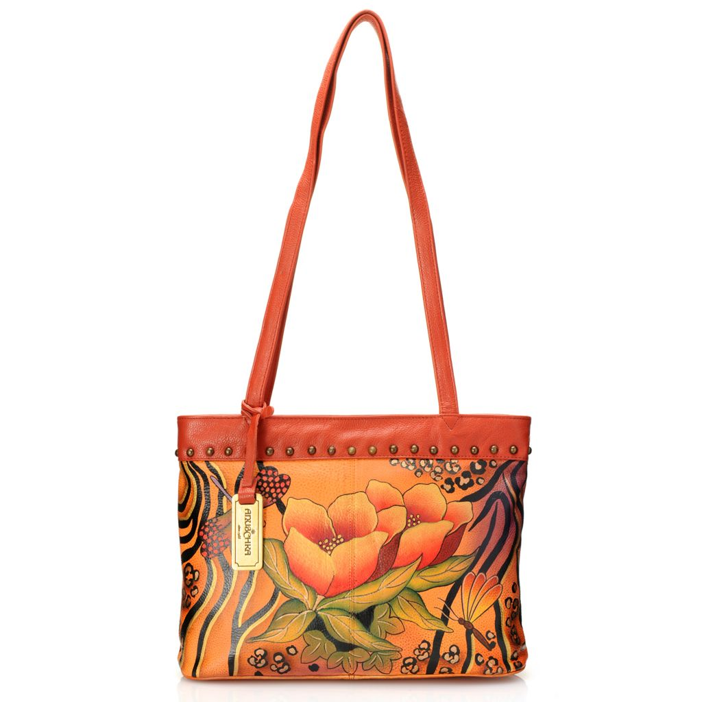 718-695 - Anuschka Hand-Painted Leather Zip Top Double Handle Studded Tote Bag
