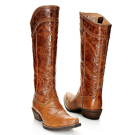 """Ariat """"Sahara"""" Distressed Leather Stitch Detailed Pointed Toe Knee ..."""