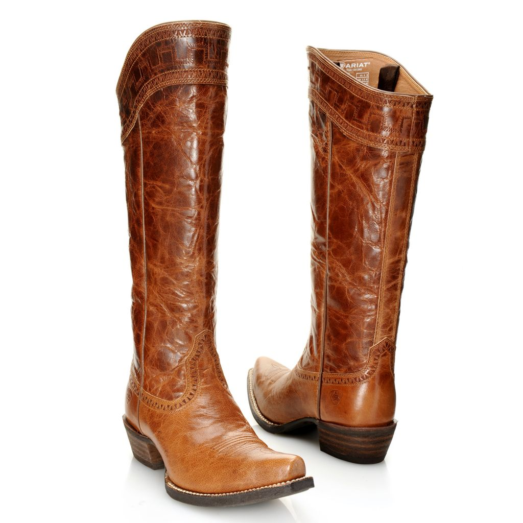 718-713 - Ariat® Distressed Leather Stitch Detailed Pointed Toe Knee-High Boots