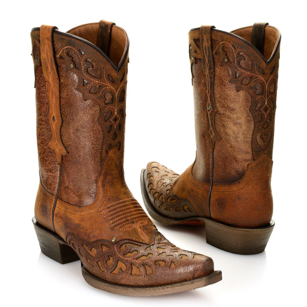 718-715 - Ariat® Distressed Leather Pointed Toe Western-Inspired Mid-Calf Boots