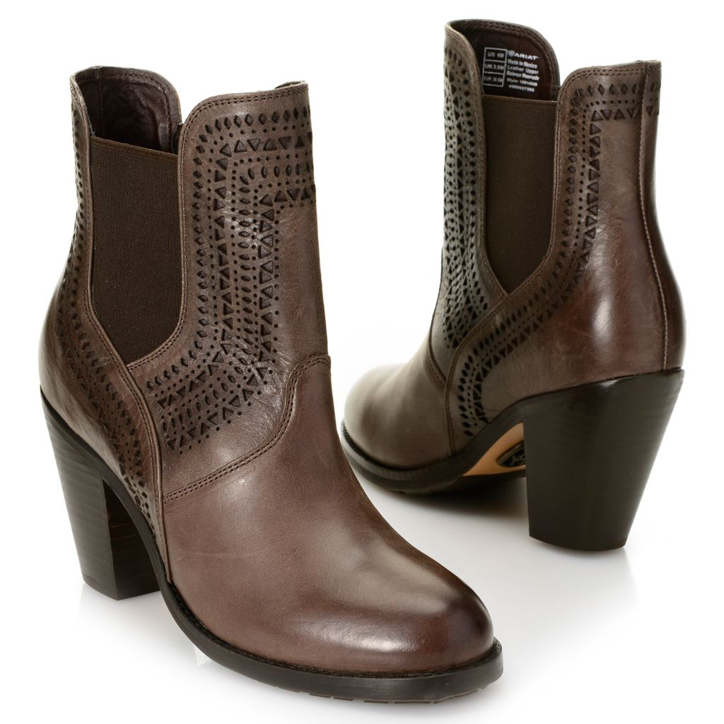 718-717 - Ariat® Smooth Leather Cut-out Detailed High Heel Ankle Boots