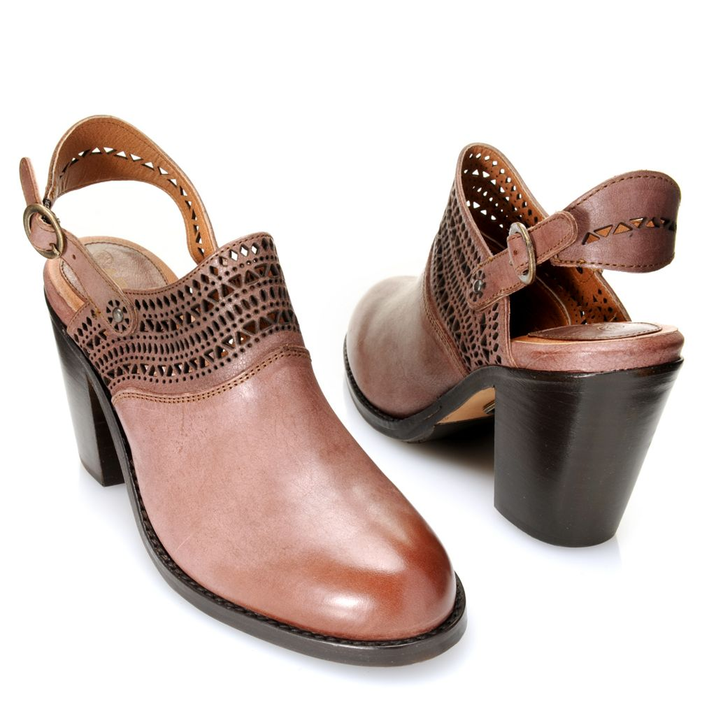 718-718 - Ariat® Leather Cut-out Detailed Buckle Closure High Heel Clogs