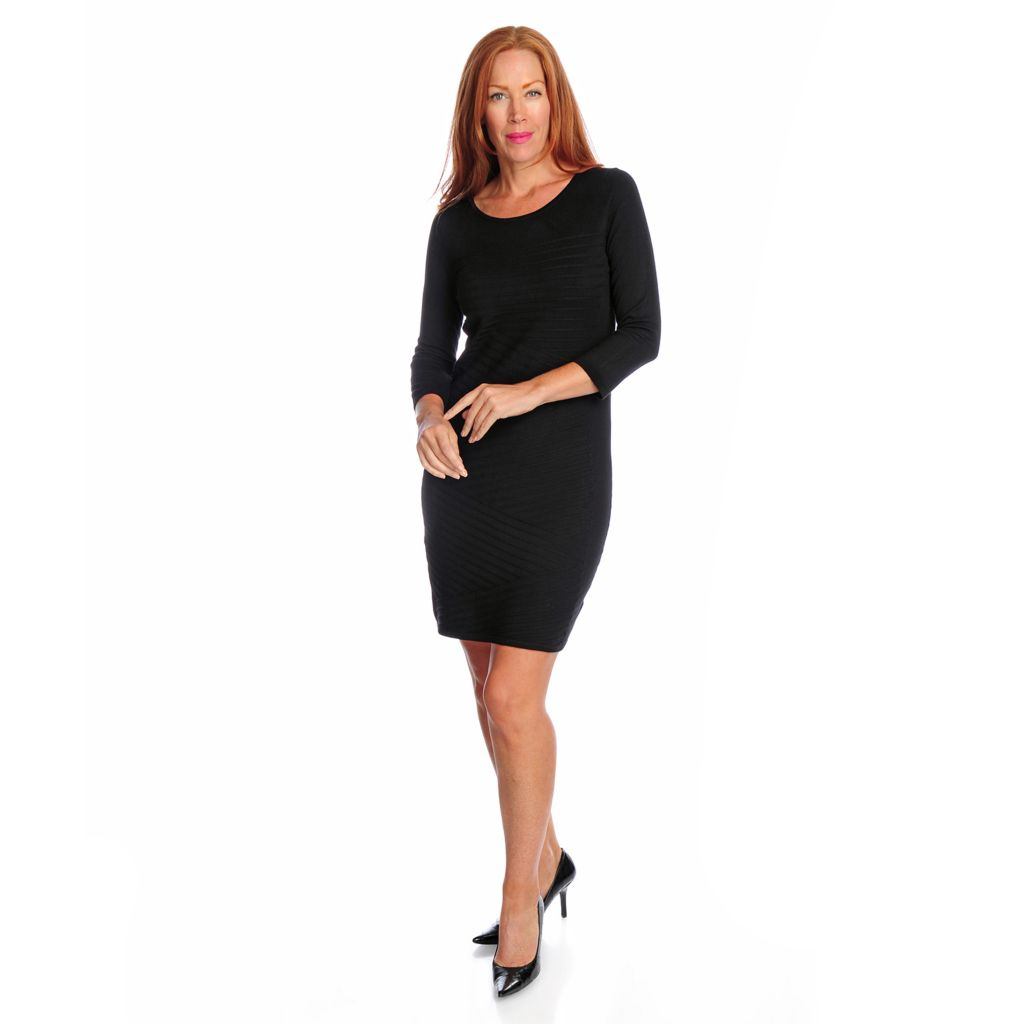 718-728 - Kate & Mallory Fine Gauge Knit 3/4 Sleeved Knee Length Sweater Dress
