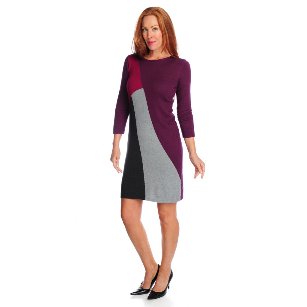 718-730 - Kate & Mallory Fine Gauge Knit 3/4 Sleeved Color Block Sweater Dress