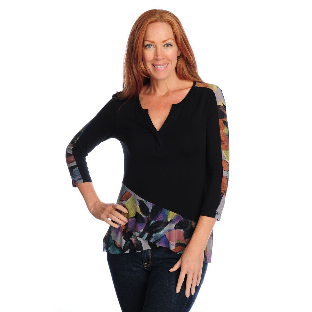 718-731 - Kate & Mallory Mixed Media 3/4 Sleeve Mesh Detailed Y-Neck Top
