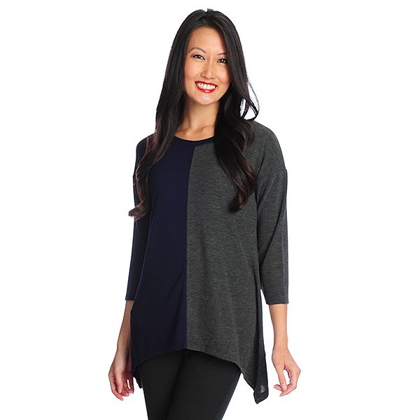 718-732 - Kate & Mallory Fine Gauge Knit Drop Shoulder Color Block Sharkbite Top