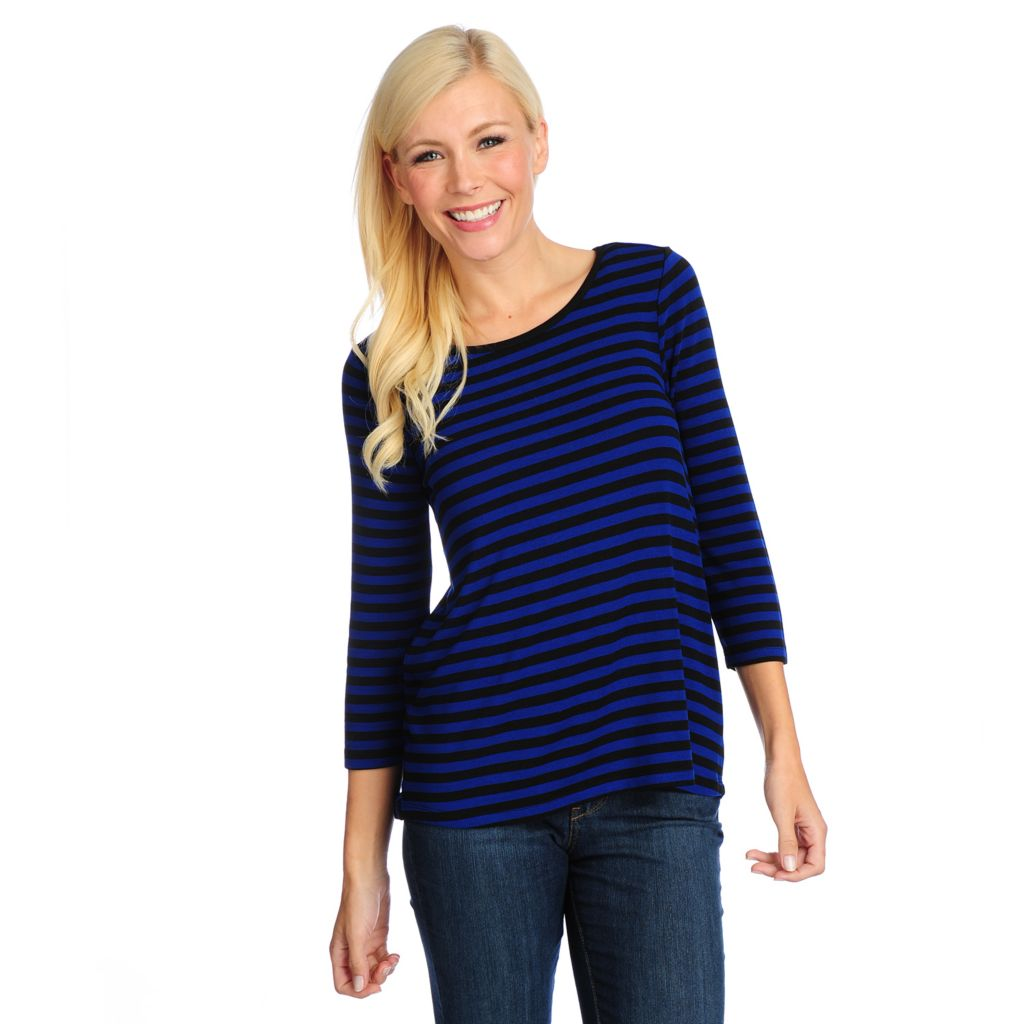 718-733 - Kate & Mallory Striped Knit 3/4 Sleeved Chiffon Inset Hi-Lo Top
