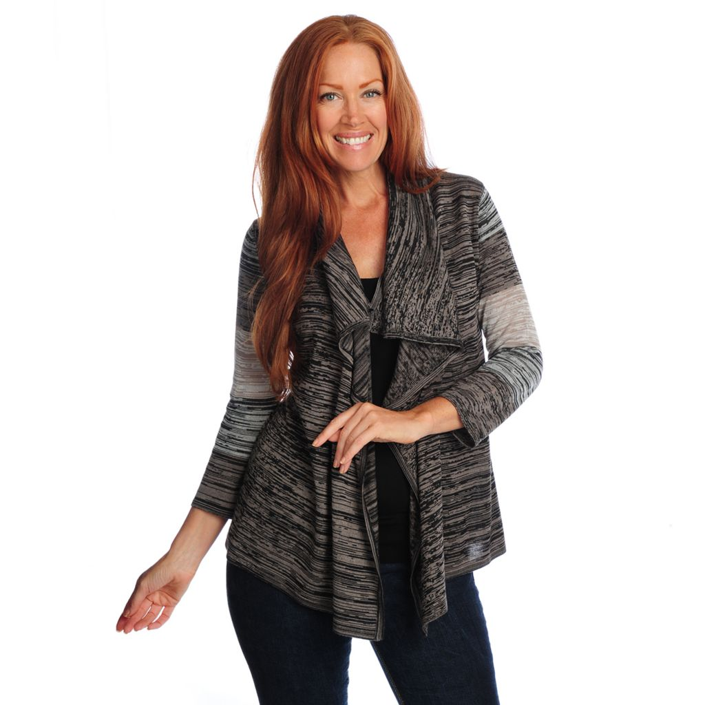 718-734 - Kate & Mallory Marled Knit 3/4 Sleeved Open Front Cardigan