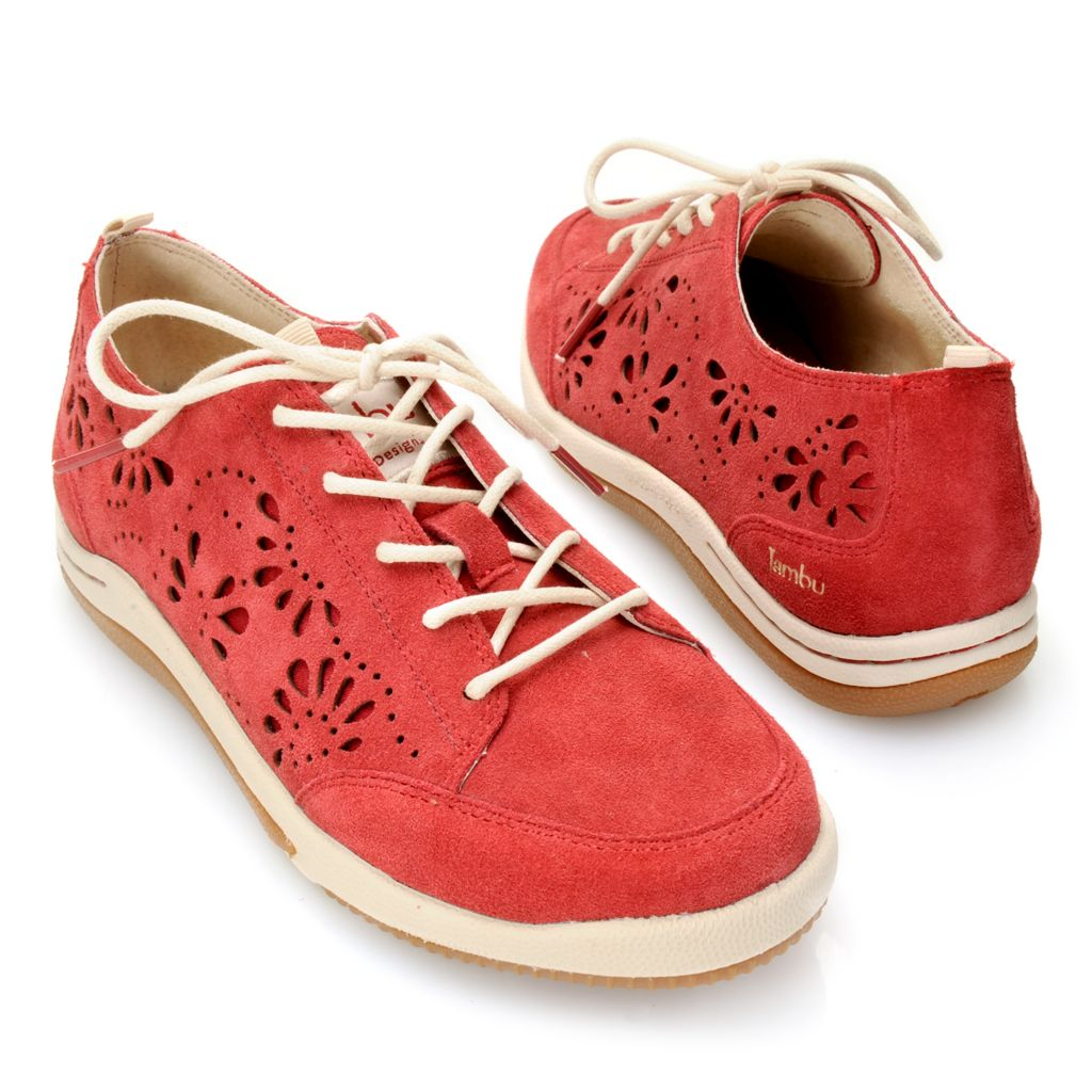 718-737 - Jambu Sueded Leather Laser Cut Flower Design Lace-up Shoes