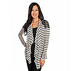 718-754 - Kate & Mallory Striped Knit Long Sleeve Lace Detailed Open Cardigan