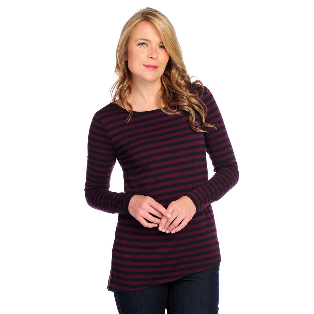 718-755 -  Kate & Mallory Stretch Knit Long Sleeved Asymmetrical Hem Striped Top