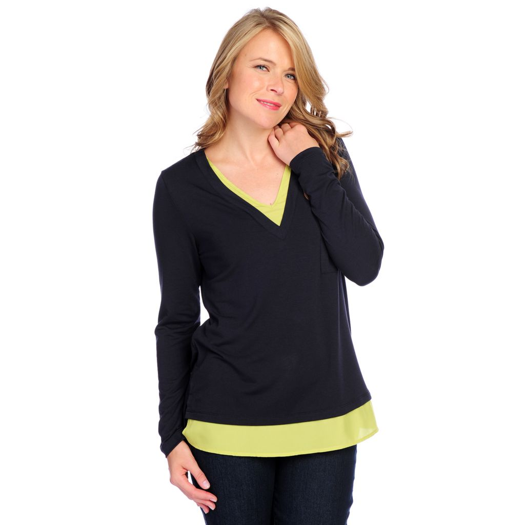 718-756 - Kate & Mallory Knit Long Sleeved Chiffon Trimmed V-Neck Top