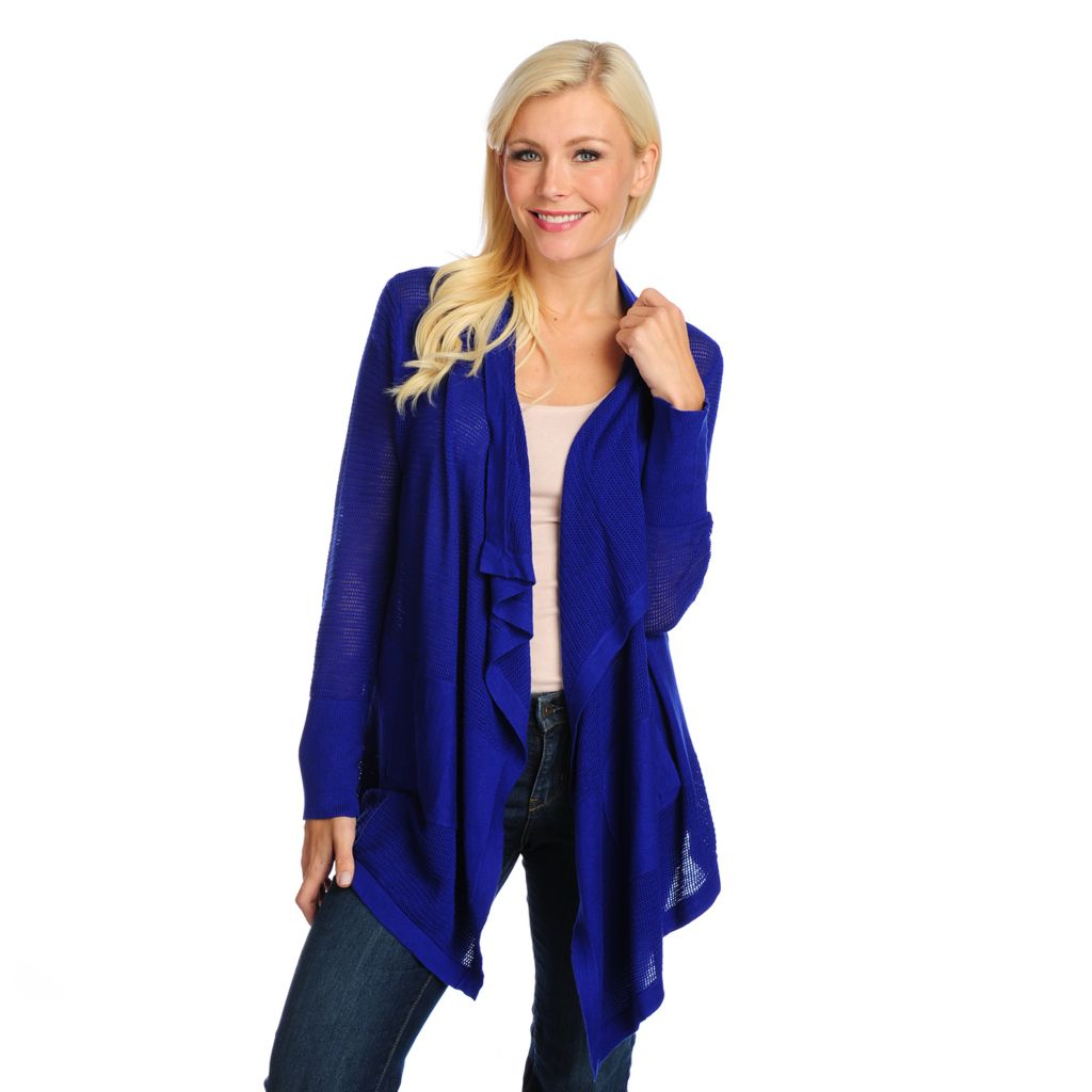 718-757 - OSO Casuals Thermal Knit Long Sleeved Drape Front Open Cardigan