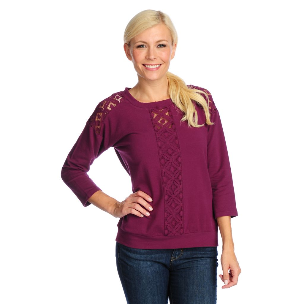 718-761 - OSO Casuals French Terry Bracelet Sleeved Lace Detailed Sweatshirt