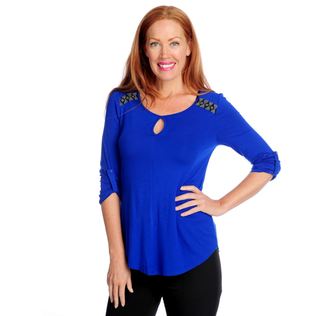 718-764 - Glitterscape Stretch Knit Roll Tab Sleeved Beaded Shoulder Hi-Lo Top