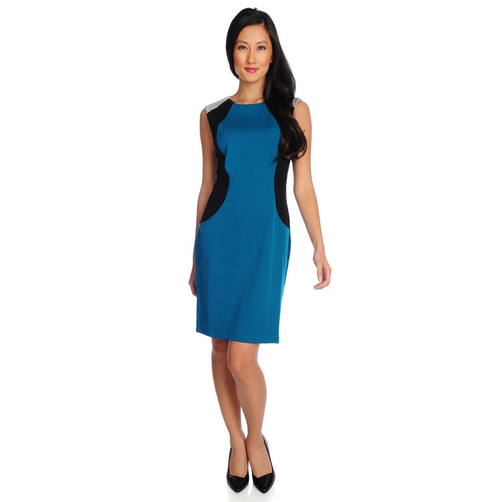718-768 - Gramercy 22™ Ponte Knit Color Block Zip Back Sheath Dress