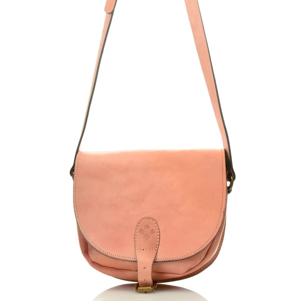 718-776 - Patricia Nash Leather Flap-over Buckle Detailed Cross Body Bag