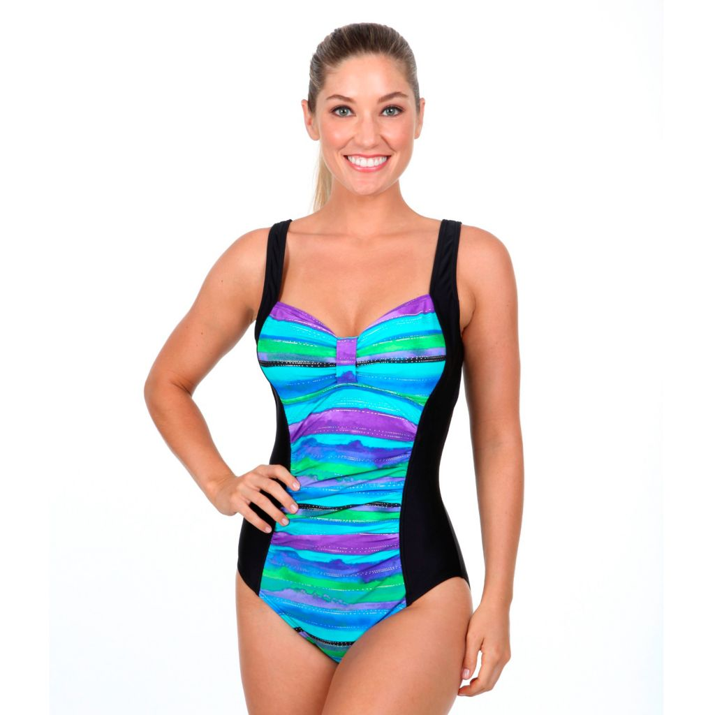 718-834 - Beach Diva Multi Print Contrast Trim One-Piece Swimsuit