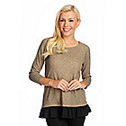 718-857 - Kate & Mallory Marled Knit Raglan Sleeved Self-Tie Back Ruffle Trim Top