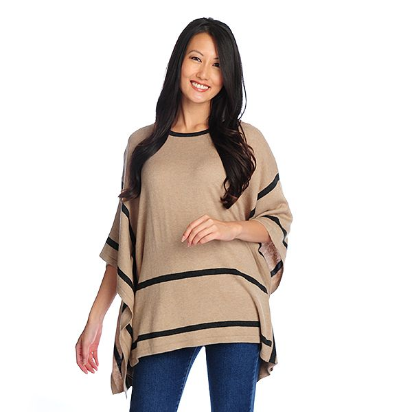 718-859 - Kate & Mallory Fine Gauge Knit 3/4 Sleeved Contrast Trimmed Poncho