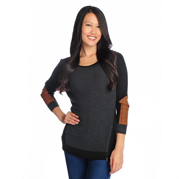 718-860 - Kate & Mallory Mixed Knit Raglan Sleeve Zipper Detailed Color Block Top