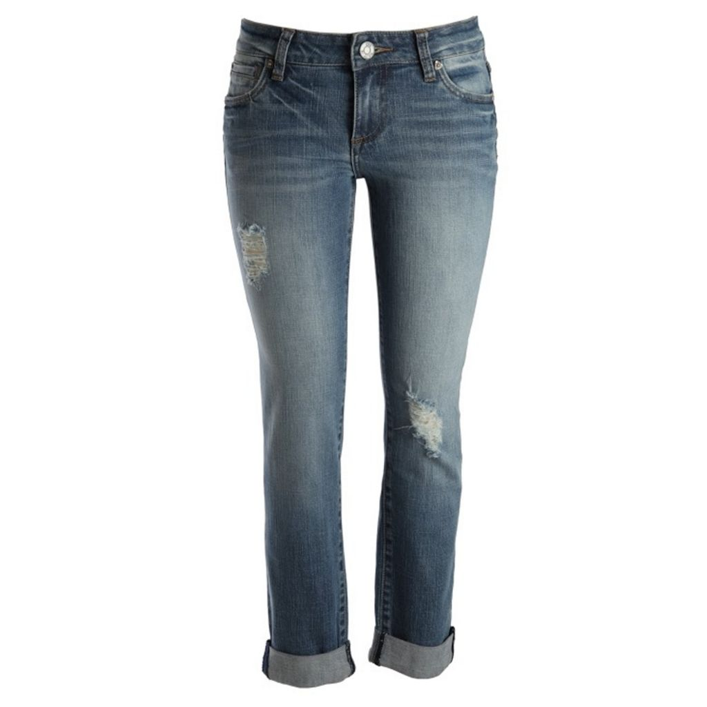 718-959 - KUT from the Kloth Catherine Boyfriend Slim Leg Five-Pocket Medium Wash Cuffed Denim Pants