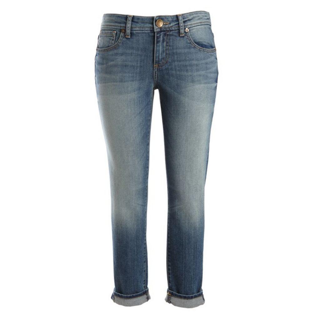 718-963 - KUT from the Kloth Catherine Boyfriend Slim Leg Five-Pocket Medium Wash Cuffed Denim Pants