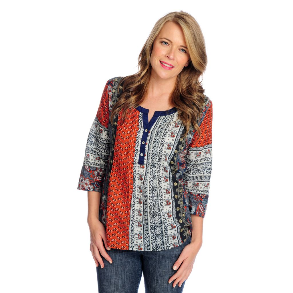 718-966 - OSO Casuals Cotton Woven 3/4 Sleeved Multi Print Henley Top