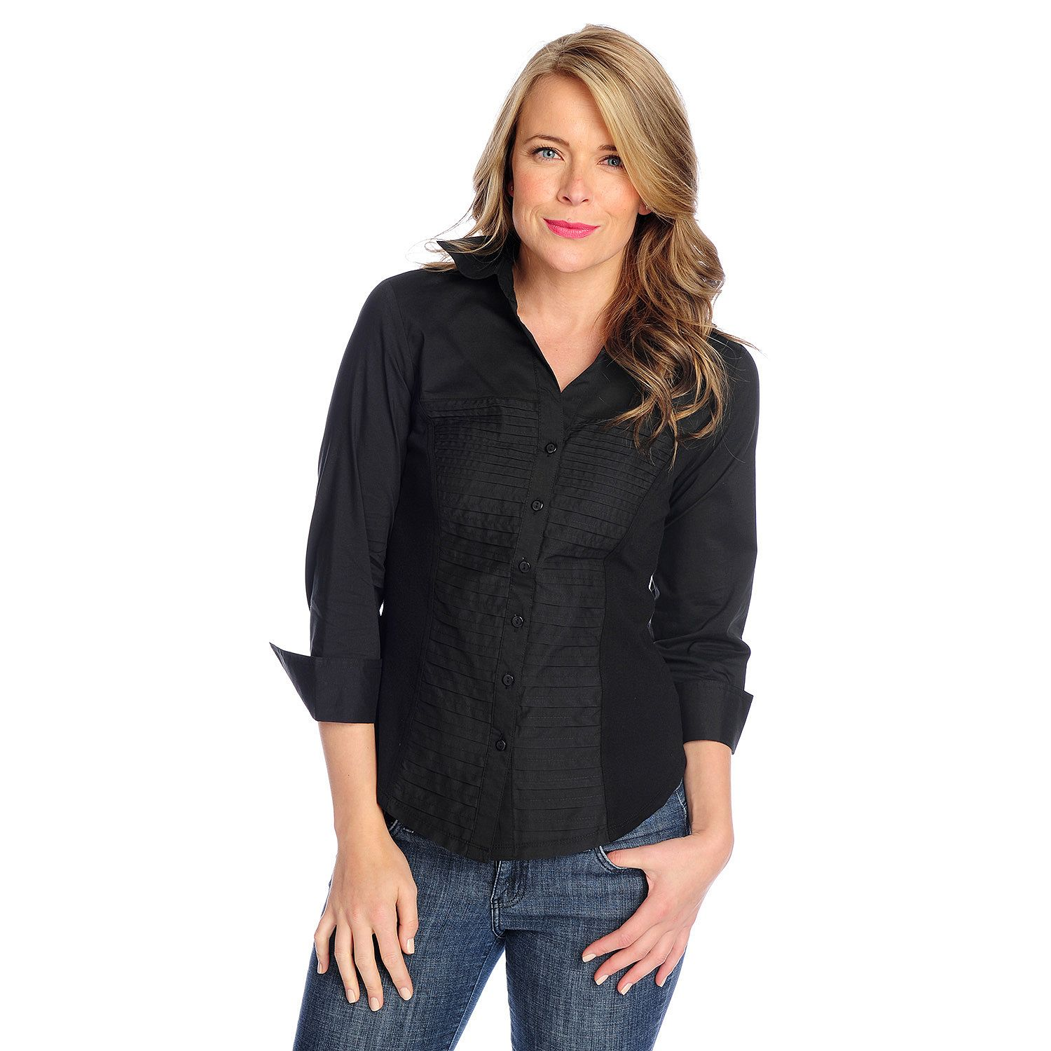 718-967- OSO Casuals® Pleated Woven Knit Side Panel 3/4 Sleeved Button Front Top