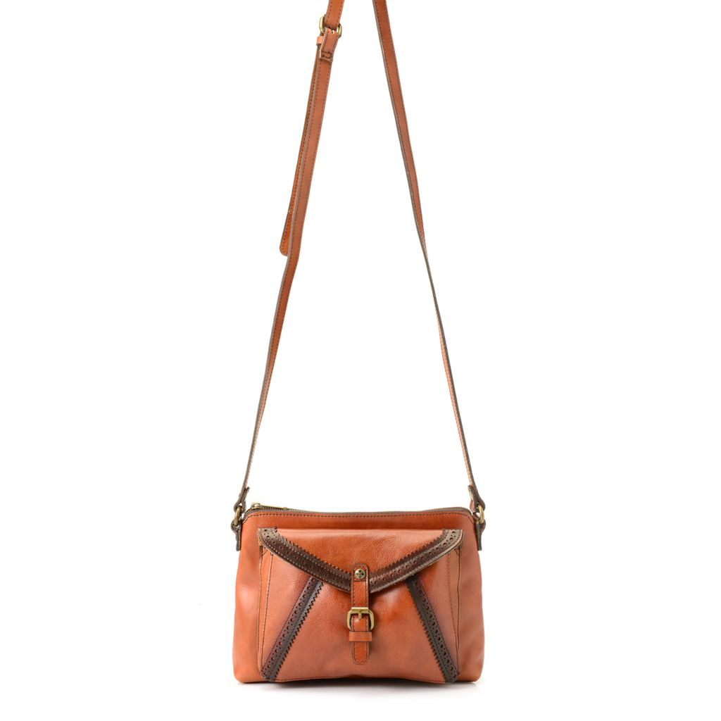 718-968 - Patricia Nash Smooth Leather Perforated Ombre Detail Cross Body Bag