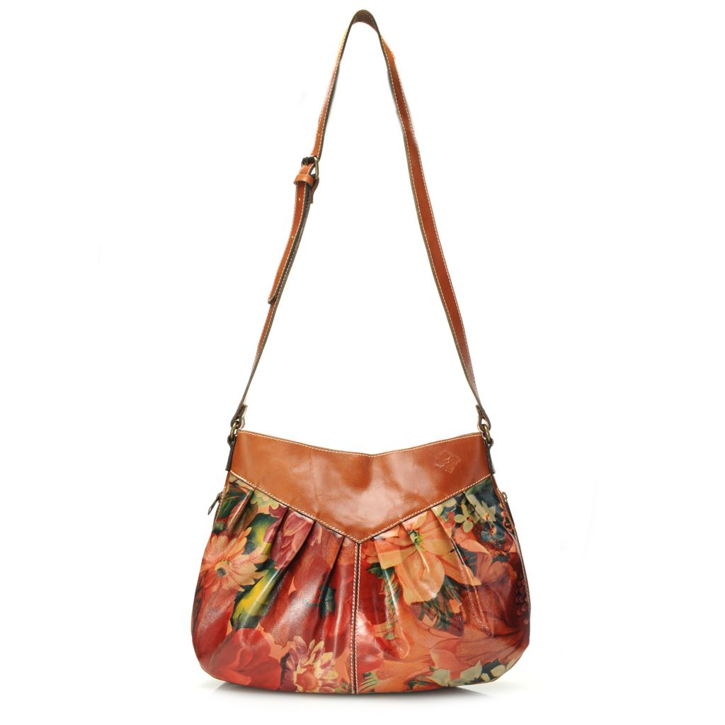 718-972 - Patricia Nash Smooth Leather Pleated Cross Body Bag