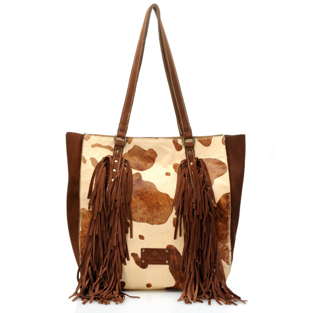 718-975 - Patricia Nash Suede Leather & Calf Hair Double Handle Fringed & Studded Tote Bag