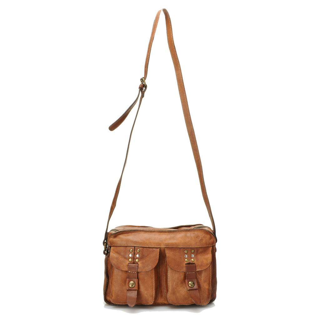 718-979 - Patricia Nash Distressed Leather Zip Top Studded Multi Pocket Cross Body Bag