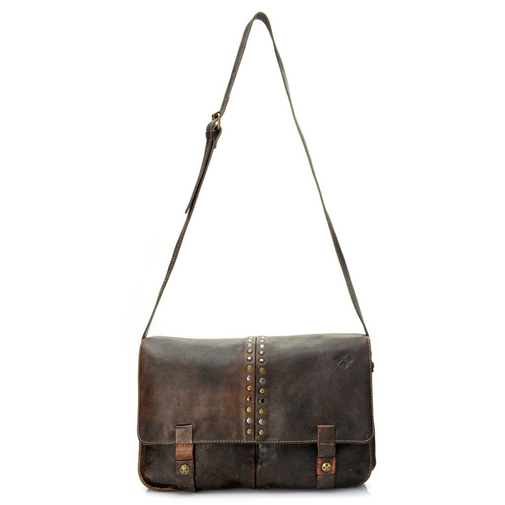 718-980 - Patricia Nash Distressed Leather Stud Detailed Flap-over Messenger Bag