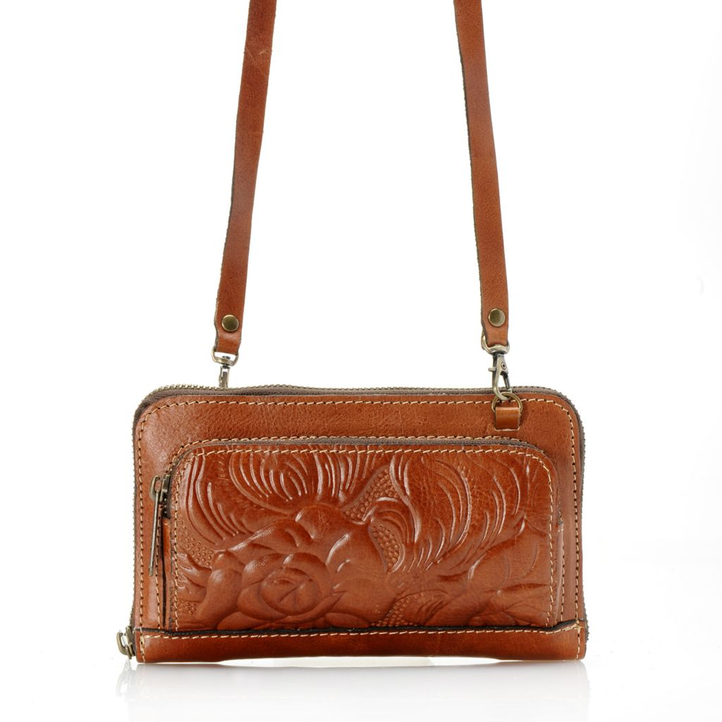 718-982 - Patricia Nash Tooled Leather Zip Around Convertible Cross Body Bag / Clutch
