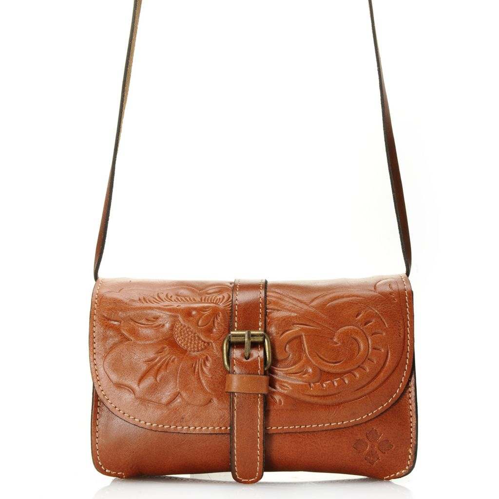 718-986 - Patricia Nash Tooled Leather Belted Flap-over Convertible Cross Body Bag / Clutch